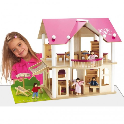 """Будинок для ляльок Eichhorn """"Рожева мрія"""" з 4 ляльками та 27 аксес., 3+ Арт. №. 100002513"""