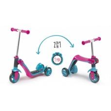 Дитячий самокат-трансформер 2 в 1 з металевою рамою, триколісний, рожевий, 18міс.+   750603