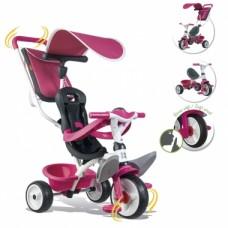 Дитячий металевий велосипед з козирком, багажником та сумкою, рожевий, 10міс.+  741101