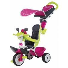 741201 Дитячий металевий велосипед Бебі Драйвер з козирком та багажником, рожево-зелений, 10 міс.+
