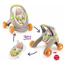 Коляска 3в1  для ляльок-ходунки, 50х45х47 см,  Веселі тварини MiniKiss Animal