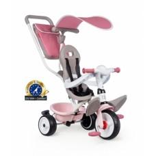 741401 Дитячий металевий велосипед з козирком, багажником та сумкою, рожево-сірий, 66х49х100 см, 10 міс.+