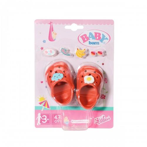 Взуття для ляльки BABY born - Святкові сандалі крокси зі значками (червоні) ZAPF CREATION 828311-3