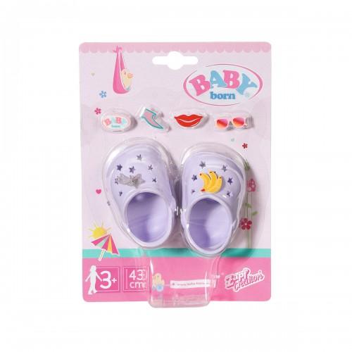 Взуття для ляльки BABY born - Святкові сандалі  Крокси бебі борн (лавандові) ZAPF CREATION 828311-4