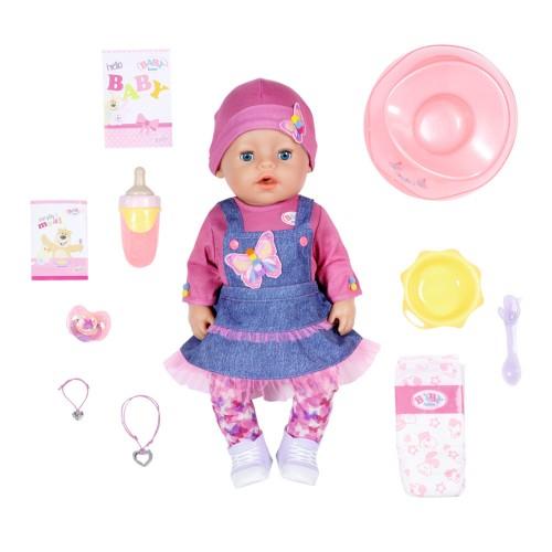 БЕЗКОШТОВНА ДОСТАВКА Лялька пупс Baby Born Ніжні обійми Джинсовий лук з аксесуарами 43 см (831298) SOFT TOUCH ZAPF CREATION бебі Борн Оригінал.